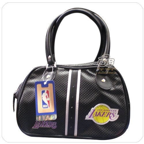 Nba Womens Los Angeles La Lakers black Bowler Round Mesh Small Tote Handbag Bag By Concept One