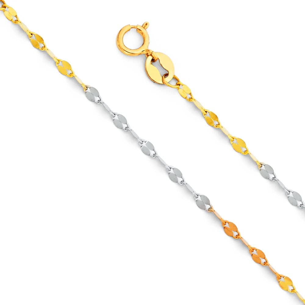 14K Yellow OR White Solid Gold 0.5mm Box Chain Necklace with Spring Ring Clasp Ioka