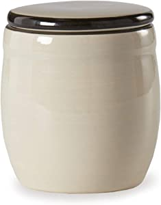 Sugar Glossy Off White 4 x 4 Ceramic Stoneware Food Storage Jar With Lid
