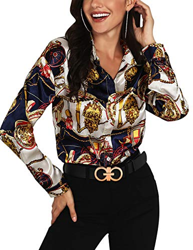 MEROKEETY Women's Long Sleeve V Neck Floral Chain Print Shirt Casual Button Down Blouse Tops