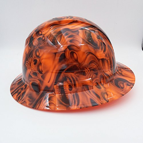 Wet Works Imaging Customized Pyramex Full Brim Orange See No Evil Skulls Hard Hat With Ratcheting Suspension by Wet Works Imaging (Image #1)