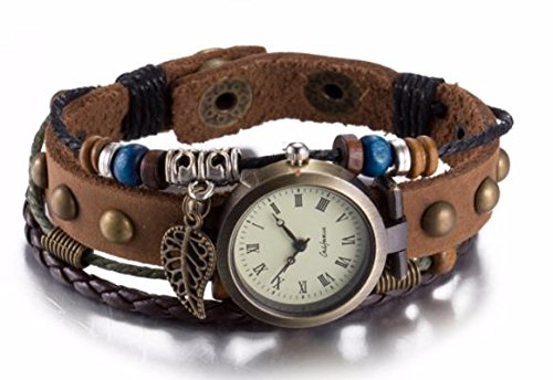 Leather Bracelet Watch Women Charm Leaf Ethnic Geneva Style Bracelets&Bangles Vintage Lady Jewelry Cheap Gift