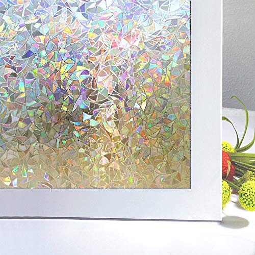 Bloss 3D Window Film No Glue Static Cling Decorative Privacy Glass Window Film Self Adhesive Removable Heat Control Anti UV 17.7