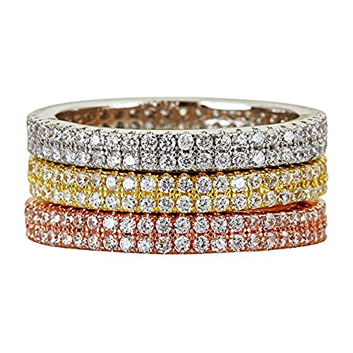 Decadence Women's Sterling Silver Tricolor 2 Row Pave Stack Ring, 9 ()