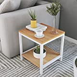 DlandHome Side End Table 15.7'', Composite Wood Board, Nightstand/Coffee Table/Couch Table For Living Room Balcony & Office, Square 2-tier Shelf, TVST2-TW Teak, 1 Pack