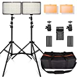 LED Video Light Kit with 2M Light Stand, FOSITAN 11W 960LM 3200K/5500K 160 pcs LED Camera/Camcorder Video Light Panel with Battery for Canon Nikon Pentax Panasonic Sony and Olympus etc (2 Set)