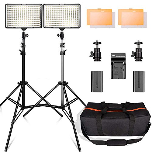 LED Video Light Kit with 2M Light Stand, FOSITAN 11W 960LM 3200K/5500K 160 pcs LED Camera/Camcorder Video Light Panel with Battery for Canon Nikon Pentax Panasonic Sony and Olympus etc (2 Set) by FOSITAN