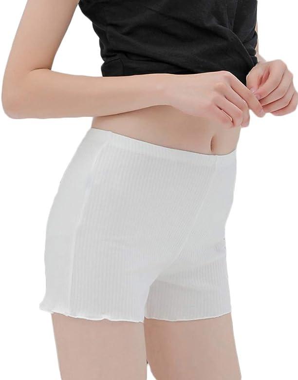 Mujeres Elásticos Pantalones Cortos Ajustados Franja De Encaje ...
