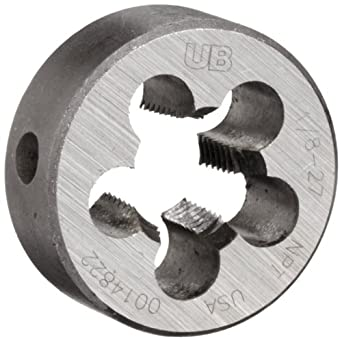 """Union Butterfield 2010(NPT) Carbon Steel Round Threading Die, Uncoated (Bright) Finish, 1/8""""-27 Thread Size"""