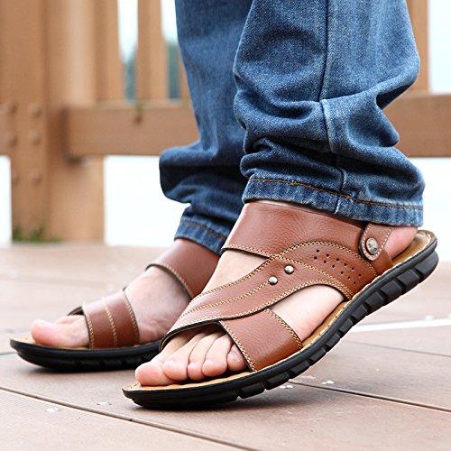 Xing Lin Sandalias De Hombre El Verano Los Zapatos De Los Hombres Sandalias De Cuero Para Hombres Zapatillas Tendencia De Ocio Al Aire Libre Para Hombres Sandalias Sandalias Sandalias De Hombres yellow