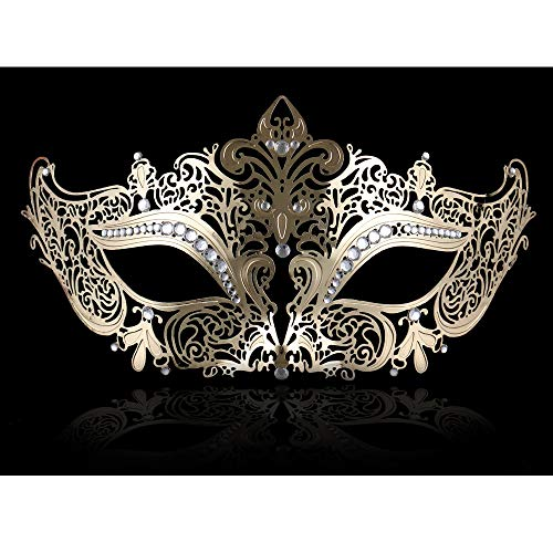 FaceWood Masquerade Mask for Women Ultralight Gorgeous Gold & Silver Shiny Metal Rhinestone Mask. (Kitty Gold) ()