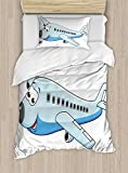Lunarable Boy's Room Duvet Cover Set Twin Size, Smiling Commercial Airplane Goofy Character for Children Air Way Fun Print, Decorative 2 Piece Bedding Set with 1 Pillow Sham, Blue Pale Blue