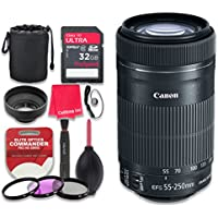 Canon EF-S 55–250mm f/4–5.6 IS STM Lens with 32GB Pro Speed Class 10 SDHC Memory Card + 3pc Filter Kit (UV-FLD-CPL) + Deluxe Sleeve + Celltime Microfiber Cleaning Cloth - International Version
