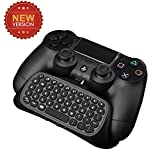 Megadream Upgraded Version PS4 Playstation 4 Controller Keyboard Mini 2.4GHz Rechargeable Bluetooth Online Gaming Keypad Live Chat Message 3.5mm Audio Aux-in Gamepad for Sony DualShock 4