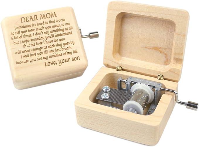 Retro Wood Hand Cranked Music Box Carved Kid Child Birthday Gift Home Decor #SF