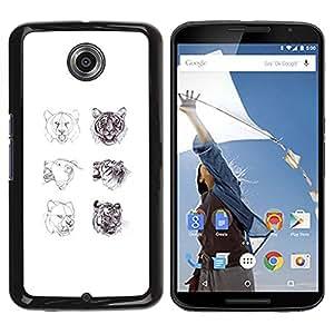 Estuche Cubierta Shell Smartphone estuche protector duro para el teléfono móvil Caso Motorola NEXUS 6 / X / Moto X Pro / CECELL Phone case / / big cats white sketch art tiger lion roa