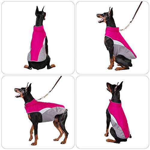 SILD Pet Clothes Dog Winter Warm Jacket Dog Cold Weather Coat Dog Autumn Windproof Night Reflective Fleece Vest (M, Red) by SILD (Image #5)
