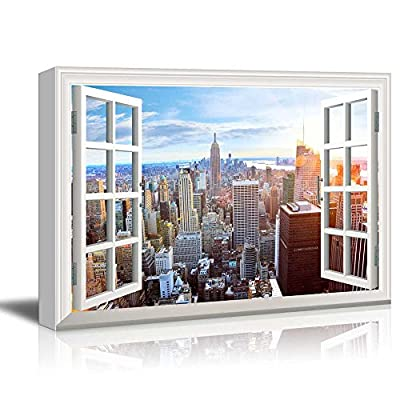 Pretty Print, Window Peering into The New York Skyline with The Empire State Building, Quality Artwork