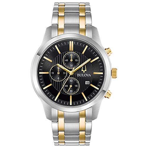 Bulova Men's Two-Tone Chronograph Watch, Black Dial ()