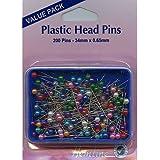 Hemline H668.20 Multi-Coloured Nickel/Plastic Head Pins 34mm 200pk In Box