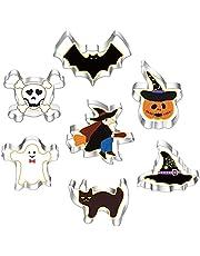Halloween koekjessnijders set 7 stuks, roestvrij staal, Halloween koekjessnijder, vorm - pompoen, vleermuis, spook, kat, heks, hoed, skelet voor Halloween voedseldecoratie