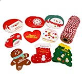 Christmas Gift Tags in 9 Assorted Designs with strings for Gift Packaging, Pack of 90 (Red String)