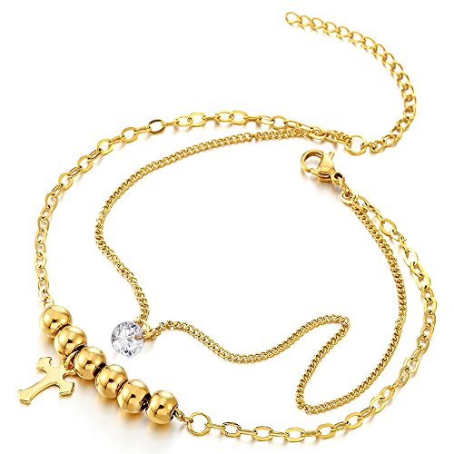 - Stainless Steel Gold Color Double Chain Anklet Bracelet with Beads and Dangling Charms of Cross