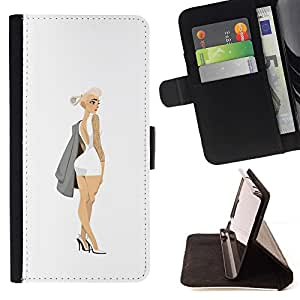 Momo Phone Case / Flip Funda de Cuero Case Cover - Fashion Design Couture Blanc - Samsung Galaxy S6 Edge Plus / S6 Edge+ G928