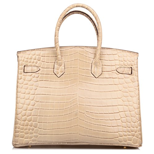 Qidell Women's Padlock Patent Leather Crocodile Embossed Handbag On Clearance (35 cm.Taupe) by QIDELL (Image #4)