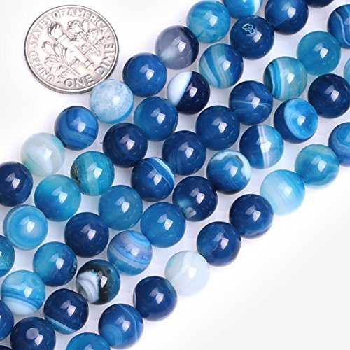 (GEM-Inside Blue Agate Gemstone Loose Beads Natural 8mm Round Banded Crystal Energy Stone Power for Jewelry Making)