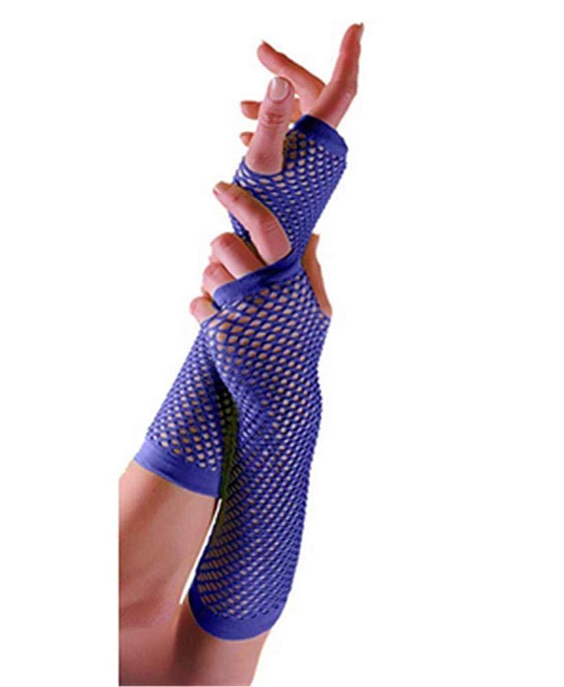 Uteruik Fishnet Gloves Dance Party 80s Fingerless Retro Fancy Dress Accessory Blue
