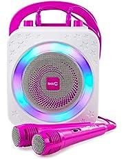$39 » RockJam Party Bluetooth, 10Watt Speaker & Two Microphones, Pink 5-Watt Karaoke Machine, 10 (RJPS150-PK)