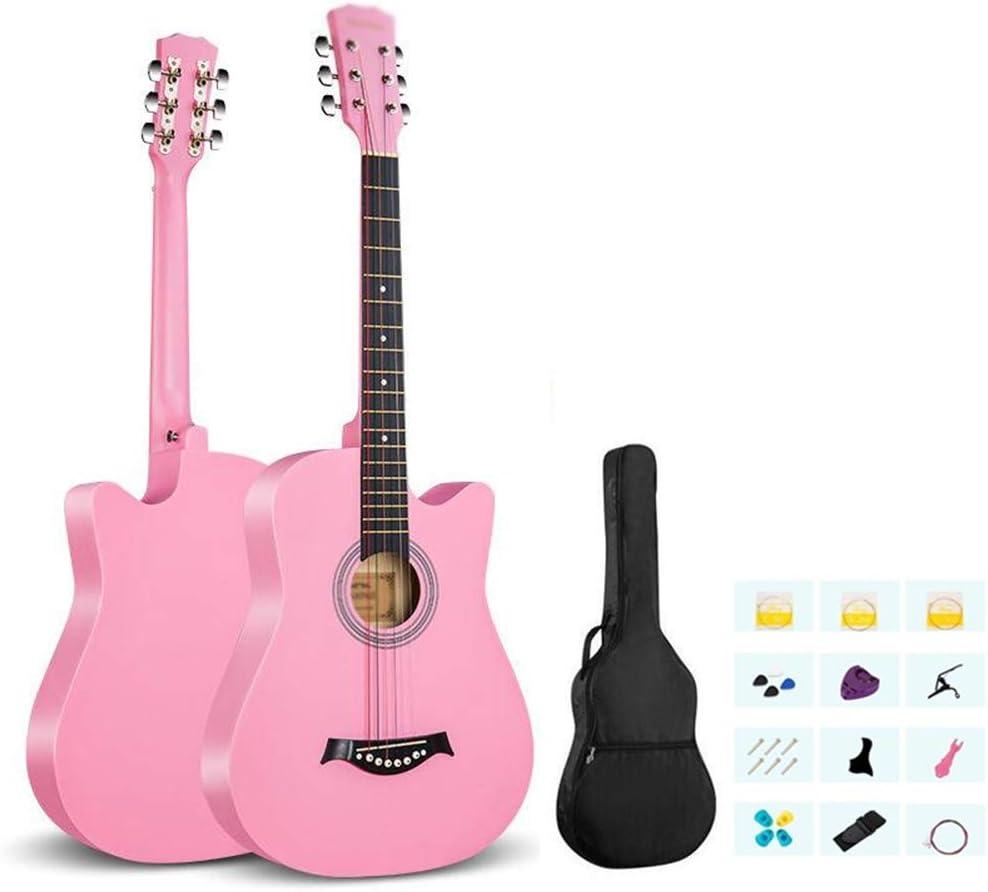 Guitarra Acústica 38 Pulgadas Guitarra Clásica Kit De Inicio con Bolsa Impermeable, Recoger, Cuerda De Acero, Chapa Guitarra De Madera para Niña Fácil De Jugar Pintura Mate, 9 Colores Gdming