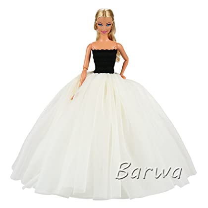 21868645875c75 Barwa Beige Wedding Dress with Veil Evening Party Princess Beige Gown Dress  for Barbie Doll