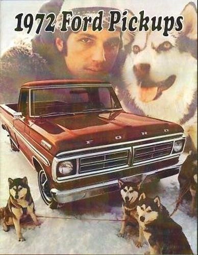 1972 FORD DEALERSHIP SALES & OPTIONS BROCHURE - ADVERTISEMENT - FOR PICKUP TRUCKS. INCLUDES F-100, F-150, F-250, F-350 and 4-Wheel Drive pickup trucks, super cab & crew cab options. 72