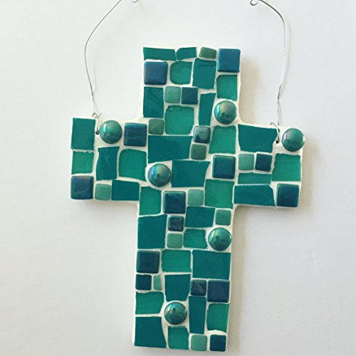 Mosaic Wall Cross Ornament, Assorted Blue and Teal stained glass with white colored grout (Cross Mosaic Blue)