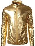 ZEROYAA Mens Unisex Casual Slim Fit Shiny Metallic Zip up Stand Collar Jacket/Night Club Stage Blazer Gold Large