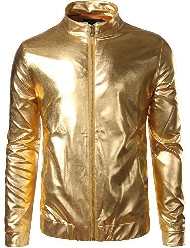 Zeroyaa Mens Unisex Casual Slim Fit Shiny Metallic Zip Up Stand Collar Jacket/Night Club Stage Blazer Gold Small