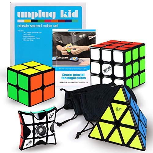 Unplugkid QiYi MoFangGe Classic Speed Cube Set - Certified QiYi WCA Quality Competition Speed Cube Bundle   1x3 Floppy Spinner Pyraminx Pyramid 3x3 Thunderclap 2x2 Qidi   4 Cube Bags, Strategy Guide