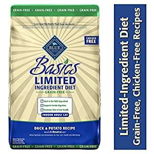Blue Buffalo Basics Limited Ingredient Diet Grain Free, Natural Indoor Adult Dry Cat Food, Duck & Potato 11-lb 107