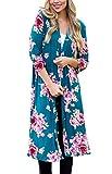 Floral Season Women Classic Blue Floral Print 3 4 Sleeve Kimono Blouse Cardigan Tops Blue Large
