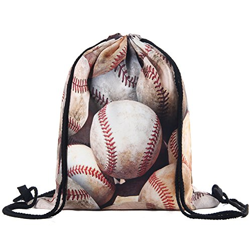 Polyester Drawstring Bag for Kids Gym Bags 15 11 Inches (baseball)