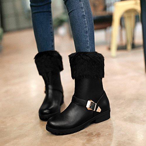 e295953dd744 ... Mee Shoes Damen Niedrig chunky heels runde warm gefüttert Stiefel  Schwarz