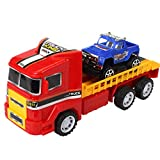 Cocal Interesting Children Simulation Educational Trailer Toy Inertia Truck Kids Catapult Race Car (B)