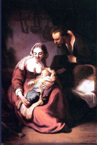 Rembrandt Van Rijn Holy Family - 24'' x 36'' 100% Hand Painted Oil Painting Reproduction by Art Oyster
