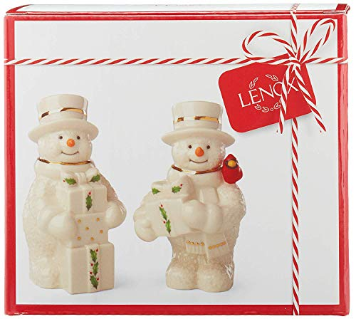 (Lenox Happy Holly Days Snowman Salt & Pepper Shaker Set, Ivory Gold holly and berries)
