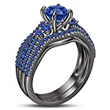 TVS-JEWELS Blue Sapphire Full Black Rhodium Plated 925 Sterling Silver Engagement Wedding Ring Set (6.5)