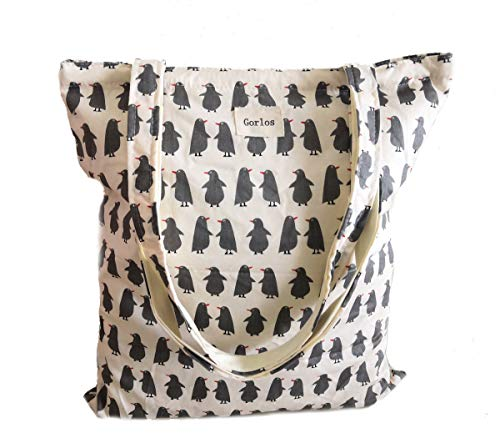 Women's Canvas Tote Shoulder Bag Stylish Shopping Casual Bag Foldaway Travel Bag (Beige penguin)