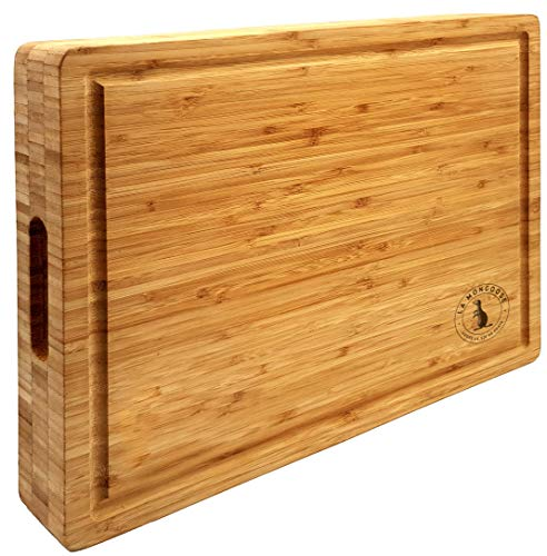 Extra Thick Bamboo Cutting Board 16 x 12 x 2 inches by La Mongoose. With Juice Groove, Hand Grips. Premium Reversible, Anti-Microbial, Solid, Sturdy Butcher Block, Chopping Serving Plate Tray Platter