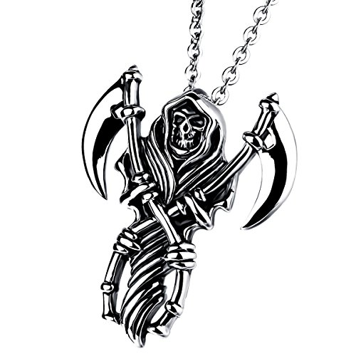 (Cupimatch Men Gothic Biker Stainless Steel Death Grim Reaper Skull with Scythe Pendant Necklace with 22
